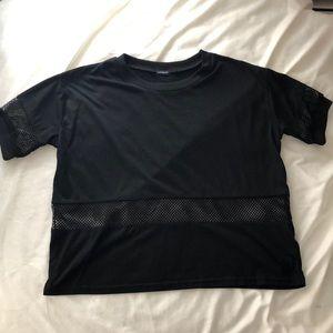 Brandy Melville Black T-Shirt with Mesh